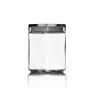 Glazen stapelbare voorraadpot met glazen deksel 1,5 liter, vierkant