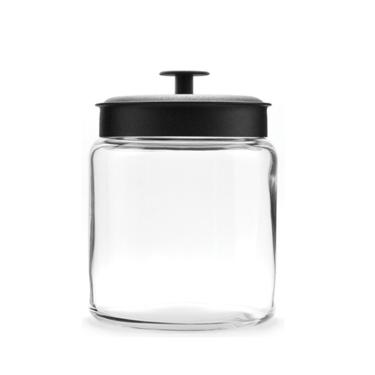 voorraadpot van glas met zwarte deksel