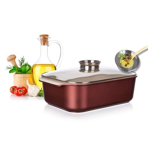 Aluminium braadpan 5,5 liter met keramische binnenkant en aroma dop