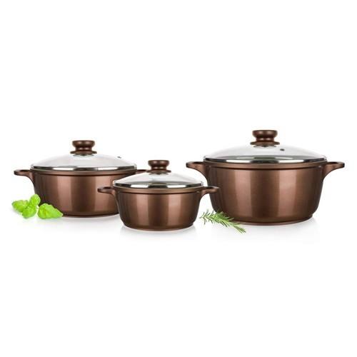 Kookpannen set 3 delig met glazen deksel en keramische anti-aanbak laag, bruin