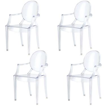 Spirit eetkamerstoelen, set van 4, kristalhelder, doorzichtig, modern ontwerp.