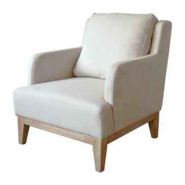 Monaco fauteuil, beige, katoen-linnen, extra rugkussen, houten poten