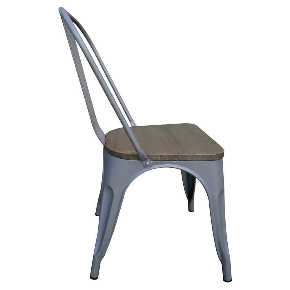 Excellent victor stoelen metaal met houten zitting donker for Plastic kuipstoel tuin