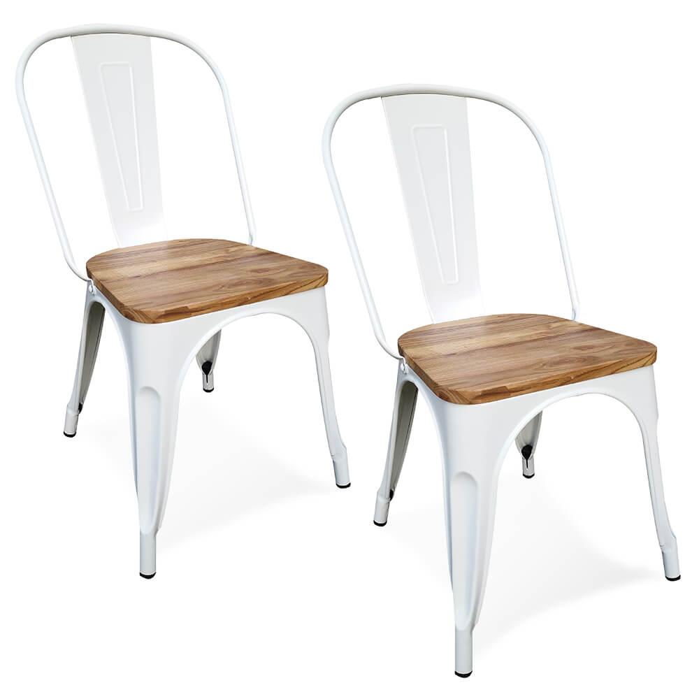 Victor stoelen metaal met houten zitting wit set van 2 - Damiware.nl