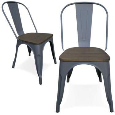 Victor stoel, grijs metaal, beukenhouten zitting, kan buiten gebruikt worden