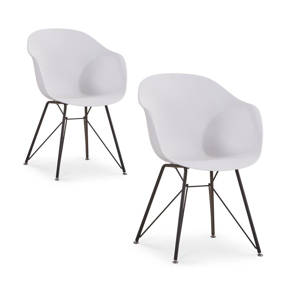 Lima eetkamerstoel set van 2 wit kuipstoel damiware for Design eetkamerstoelen wit