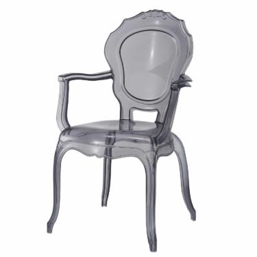 Broxster stoel, brocante stijl, doorzichtig materiaal, smoke kleur, eyecatcher