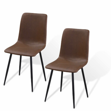 Ally eetkamerstoel, set van twee, zittien PU-leer, metalen poten, cognac kleur
