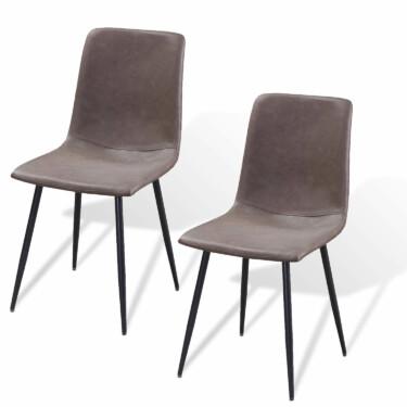 Ally eetkamerstoel, set van twee, zitting PU-leer, metalen poten, stone/antraciet kleur