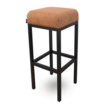 Bruce, barkruk cognac, microvezel stof, zwart metalen poten, dikke zitting, 75 cm, kruk, goedkoop