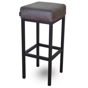 Bruce, barkruk stone, microvezel stof, zwart metalen poten, dikke zitting, 75 cm, kruk, goedkoop