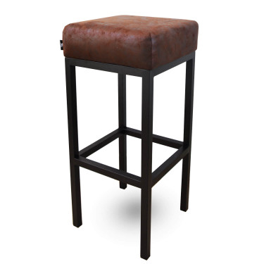 Bruce, barkruk burgundy, microvezel stof, zwart metalen poten, dikke zitting, 75 cm, kruk, goedkoop