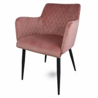 Rose velvet eetkamerstoel roze, fluwelen, armleuningen, luxe uitstraling, ruitmotief, klassieke uitstraling, metalen stoelpoten