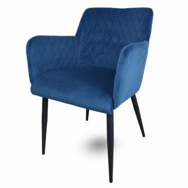Rose, velvet eetkamerstoel blauw, fluwelen stoel, armleuningen, luxe uitstraling, ruitmotief, klassieke uitstraling, zwarte metalen stoelpoten