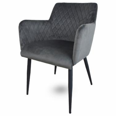 Rose velvet eetkamerstoel grijs, fluwelen, armleuningen, luxe uitstraling, ruitmotief, klassieke uitstraling, metalen stoelpoten