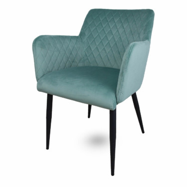 velvet eetkamerstoel mintgroen, fluwelen, armleuningen, luxe uitstraling, ruitmotief, klassieke uitstraling, metalen stoelpoten