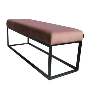 Couchy hocker velvet roze, voetenbank, eettafel bank, fluwelen, metalen poten, geen rugleuning, klassiek, modern, fluweel