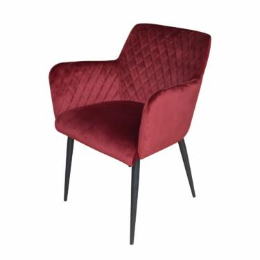 Rose velvet eetkamerstoel bordeauxrood , fluwelen, armleuningen, luxe uitstraling, ruitmotief, klassieke uitstraling, metalen stoelpoten