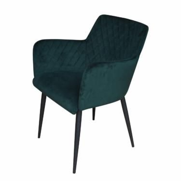 Rose velvet eetkamerstoel donkergroen, fluwelen, armleuningen, luxe uitstraling, ruitmotief, klassieke uitstraling, metalen stoelpoten