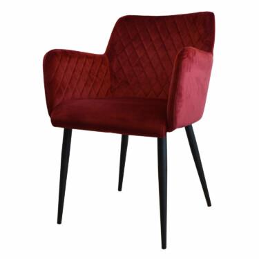 Rose velvet eetkamerstoel bordeauxrood, fluwelen, armleuningen, luxe uitstraling, ruitmotief, klassieke uitstraling, metalen zwarte stoelpoten