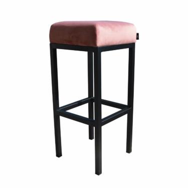 Bruce, barkruk velvet roze, zwart metalen poten, dikke zitting, 75 cm, fluweel, kruk, goedkoop