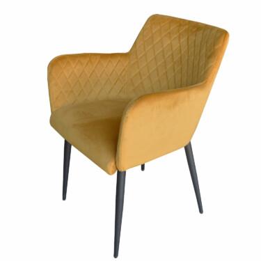 Rose velvet eetkamerstoel okergeel, fluwelen, armleuningen, luxe uitstraling, ruitmotief, klassieke uitstraling, metalen stoelpoten