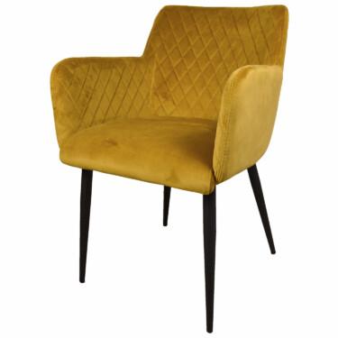 eetkamerstoel velvet geel, fluwelen, armleuningen, luxe uitstraling, ruitmotief, klassieke uitstraling, zwarte metalen stoelpoten