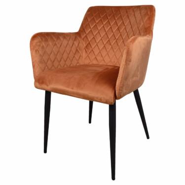 rose, eetkamerstoel velvet oranje, fluwelen eetkamerstoel, armleuningen, luxe uitstraling, ruitmotief, klassieke uitstraling, zwarte metalen stoelpoten