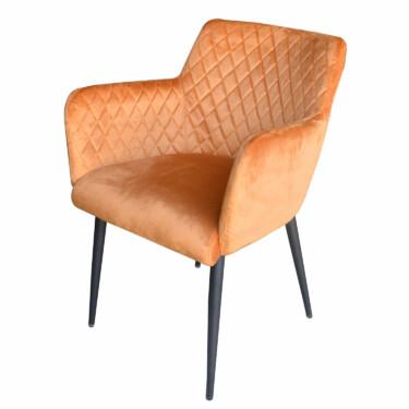Rose velvet eetkamerstoel oranje, fluwelen, armleuningen, luxe uitstraling, ruitmotief, klassieke uitstraling, metalen stoelpoten