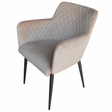 Rose velvet eetkamerstoel taup, fluwelen, armleuningen, luxe uitstraling, ruitmotief, klassieke uitstraling, metalen stoelpoten,