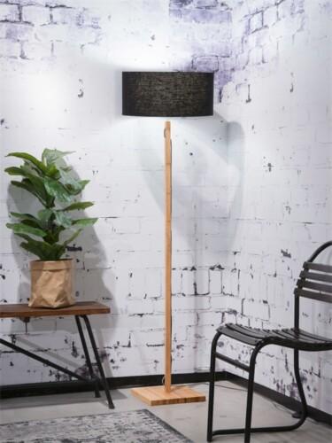 vloerlamp good mojo fuji bamboe zwart linnen sfeerfoto damiware