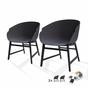 Buitenstoel, lounge tuinstoel zwart, set van 2