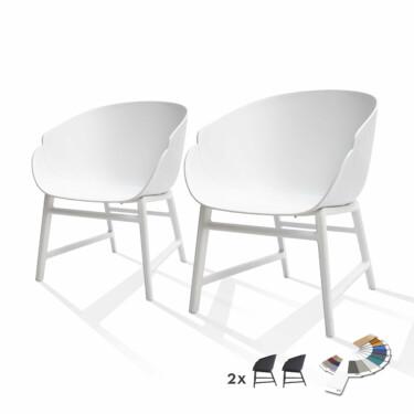buitenstoelen, lounge tuinstoel wit, set van 2