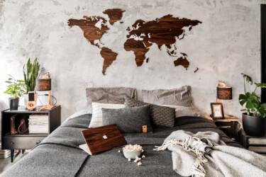 Landkaart walnoot hout landsgrenzen sfeer foto Wooden Amsterdam Damiware decoratie